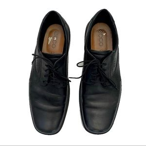 Ecco black leather lace up dress comfort loafers